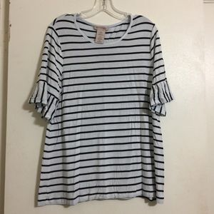 Striped top with ruffle sleeves